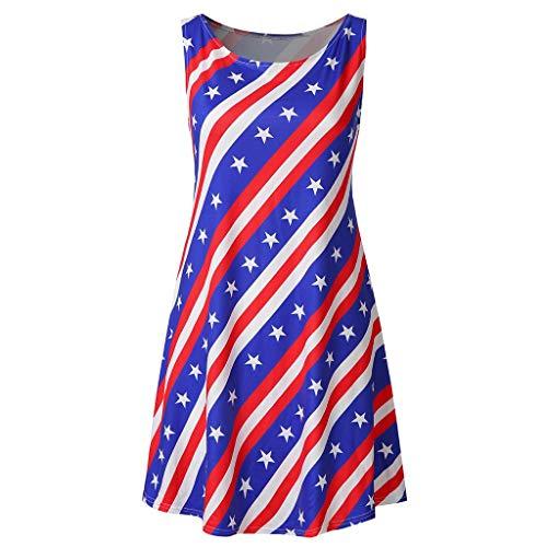 Misaky Women's Dresses Summer Daily Independence Day Flag Star Stripe Print Round Neck Sleeveless Mini Dress(Blue) ()