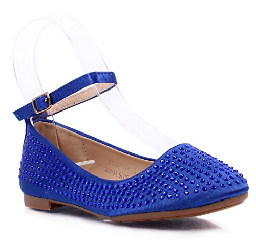 [Cute Kids Girls Faux Silk Rhinestone Strap with Buckle Ballerina Flats Shoes New Without Box (4, Royal Blue)] (Buckle Silk)