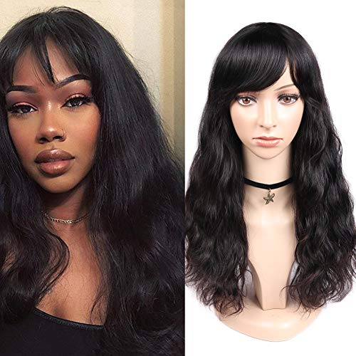 WIGNEE 100% Virgin Human Hair Natural Wave Wigs with Bangs Brazilian Human Hair Wave Wigs Natural Black Color (18
