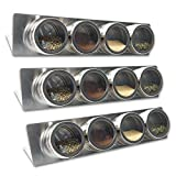 12 Magnetic Spice Tin Containers with Racks, 16 labels, FREE Spice Booklet! ...