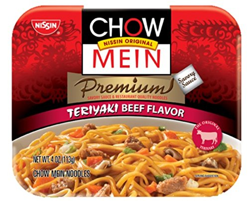 Nissin Chow Mein Premium Quality Noodles, Convenient COMBO Pack with Two Different Flavours, Beef (8 Count, 4.30 Oz Each) + Teriyaki Chicken (8 Count, 4.20 Oz Each) - Total 16 Trays (68 Oz)