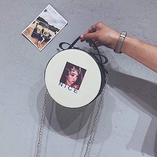 Petit épaule Blanc Wild Fille WSLMHH Rond Portable Sac nbsp;Tide en Fashion chaîne bandoulière 7Ax6wwf8Iq