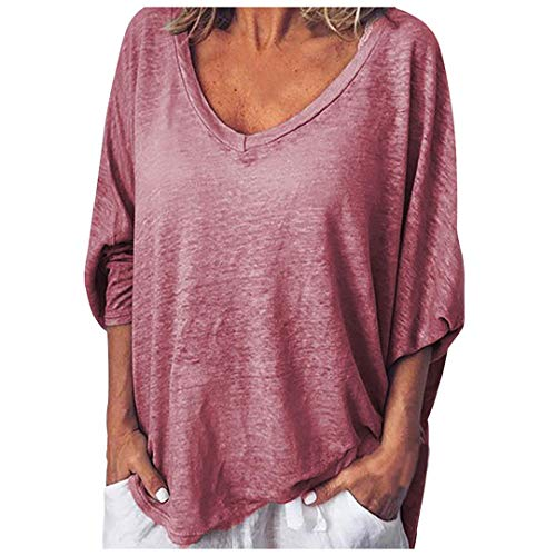 XVSSAA Womens Summer Top, Ladies Loose Casual V-Neck Short Sleeve Solid Color Blouse T-Shirt Red