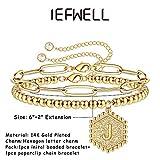Layering Gold Initial Bracelets for Teen Girls, 14K
