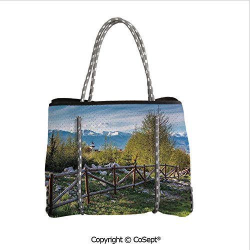 (Convenient Beach Tote Bag,Idyllic Scene with Tree Trunk Plank and Snow Mountain Range the Alps Photo,for Gym Hiking Picnic Travel Beach(14.9