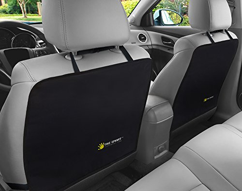 Tike Smart Premium Kick Mats - Luxury Seat Back Protectors and Seat Covers with Invisible Strap - 2-Pack - Black by Tike Smart (Image #4)