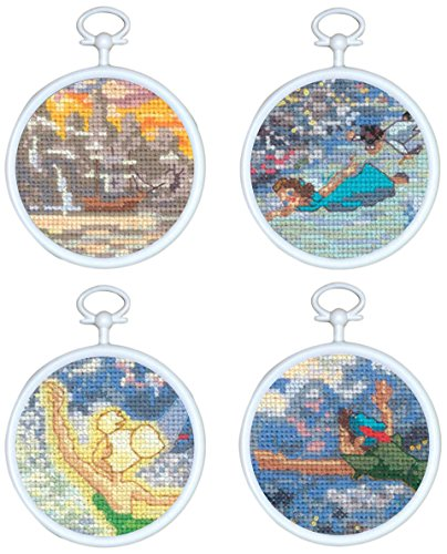 MCG Textiles Tinker Bell and Peter Pan Mini Vignette Counted Cross Stitch Kit, Set of 4 (Peter Pan Cross Stitch compare prices)