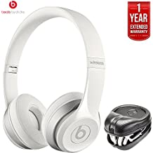 Beats By Dre Dr. Dre Solo2 Wireless On-Ear Headphones MHNH2AM/A - White (Certified Refurbished) + HardBody PRO Full Sized Headphone Case With 1 Year Extended Warranty Pack