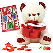 """Valentines Day Gifts for Women, Plush Stuffed 12"""" Valentines' Teddy Bear Holding a Heart Box with Red Rose Petals, 5 Inch Glass Rose In Gift Box And A Valentine's Card for Girlfriend and Wife"""