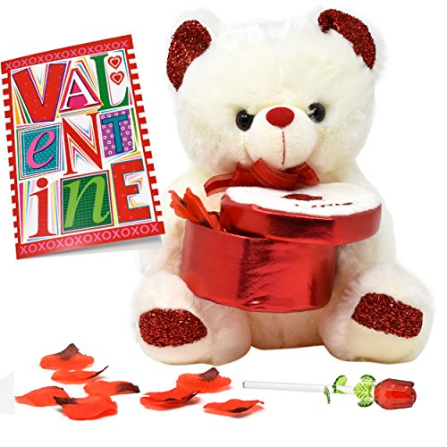 "Silver Plated Body (Valentines Day Gifts for Women, Plush Stuffed 12"" Valentines' Teddy Bear Holding a Heart Box with Red Rose Petals, 5 Inch Glass Rose In Gift Box And A Valentine's Card for Girlfriend and Wife)"