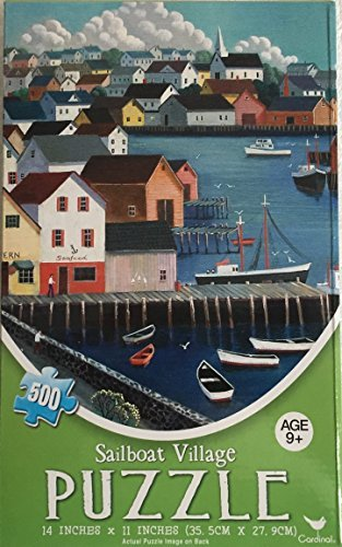 Cardinal 500-Piece Jigsaw Puzzle Featuring Artwork of Steve Klein: Sailboat Village
