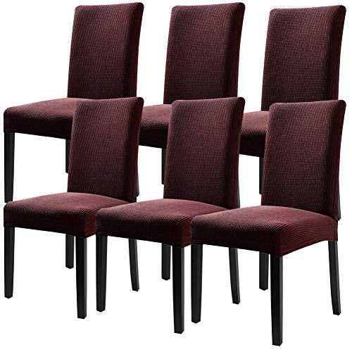 Fuloon Super Fit Stretch Removable Washable Short Dining Chair Protector Cover Seat Slipcover for Hotel,Dining Room,Ceremony,Banquet Wedding Party (6 Per Set, CB)