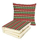 iPrint Quilt Dual-Use Pillow Fiesta Mexican Blanket Geometric Pattern Stripes and Rhombuses Ethnic Arrangement Decorative Multifunctional Air-Conditioning Quilt Green Vermilon Cream