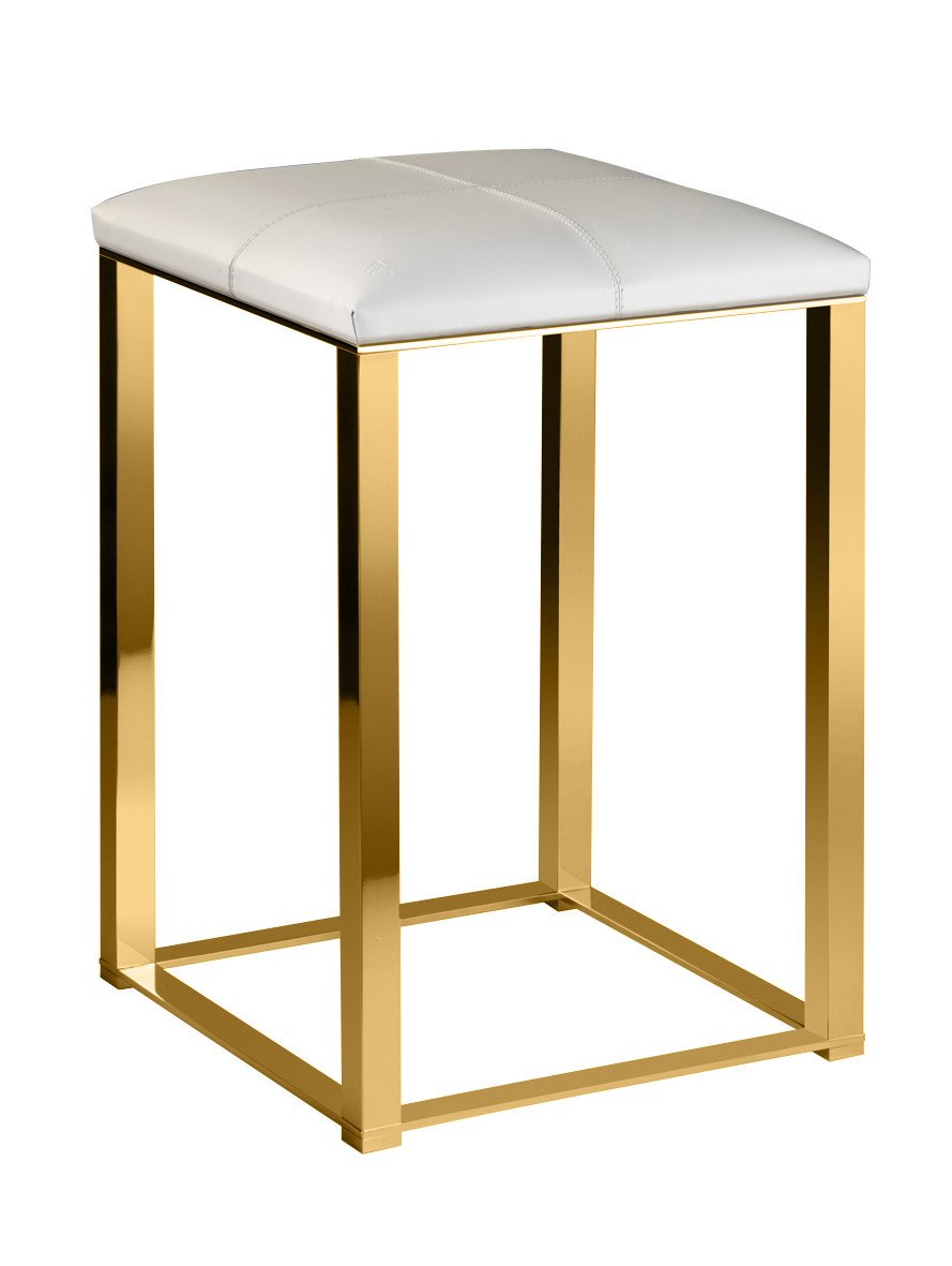 Backless Vanity Stool Bench Seat With Brass Metal Legs, Leather Seat (White-Gold)