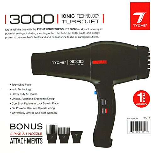 Price comparison product image Tyche Professional Hair Dryer Turbo Jet 3000 Black (1 Year Warranty)