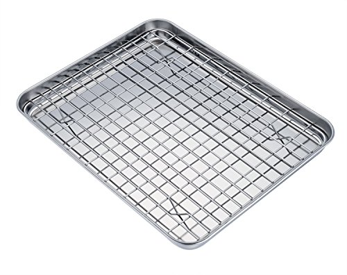 TeamFar Baking Tray and Rack Set, Stainless Steel Baking Pan Cookie Sheet with Cooling Rack, 12 x 10 x 1 inch, Non Toxic & Healthy, Easy Clean & Dishwasher Safe