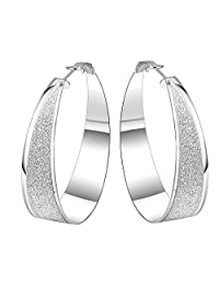 BODYA Silver plated Large round Sparkle Glitter spiker line Huggie Hoop Earrings 49mm cool fashion