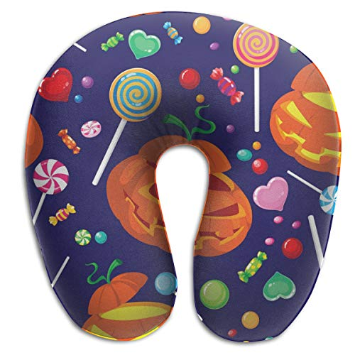 Pamdart Seamless Halloween Candy Vector Image Love Personalized U-Shaped Pillow Neck Pad Cushion Unisex Suitable for Office Rest Aircraft Travel -