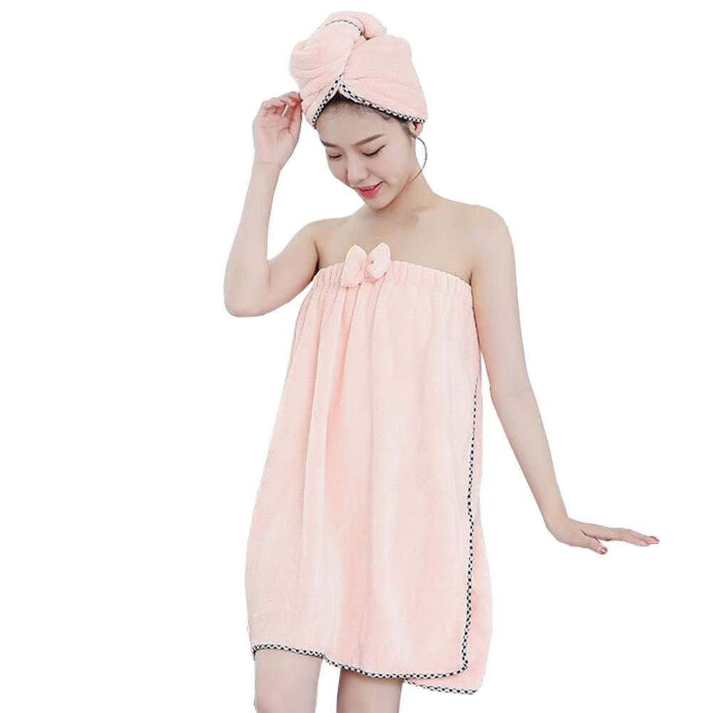 fayear mujeres de invierno forro polar ducha toalla de baño Spa albornoz y gorro de ducha conjuntos cuerpo, vestido para pijamas, microfibra, Rosa, ...