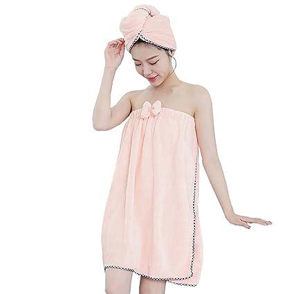 fayear mujeres de invierno forro polar ducha toalla de baño Spa albornoz y gorro de ducha