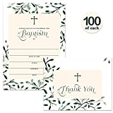 Baptism Invitations ( 100 ) & Matching Thank You Cards ( 100 ) Set with Envelopes, Large Family Church Celebration to Welcome Baby Christening, Fill-in Invites & Folded Thank You Notes Best Value Pair
