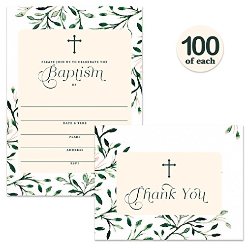 Baptism Invitations ( 100 ) & Matching Thank You Cards ( 100 ) Set with Envelopes, Large Family Church Celebration to Welcome Baby Christening, Fill-in Invites & Folded Thank You Notes Best Value Pair by Digibuddha