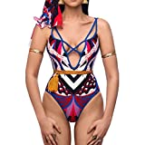 Women Swimwear Slimming Skirt Swimsuits Geometric Printed Bandage Beachwear Bathing Suits Bikini Set (M, Red)
