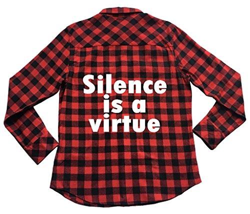 Silence is A Virtue - Unisex Plaid Flannel Shirt Phrase Idiom