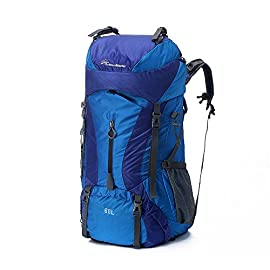 OutdoorMaster Hiking Backpack 60L - Internal Frame w/Waterproof Rain Cover Hiking, Travel, Camping 106 60L HIKING BACKPACK WITH INTERNAL FRAME - The light internal frame greatly improves comfort & ergonomy while carrying your gear & fully loaded hydration bladder etc. SPACIOUS AND WATERPROOF RAIN COVER - Packed with pockets and features. Great for hiking, traveling, camping. For both men and women. ADJUSTABLE STRAP HEIGHT & MESH VENTILATION SYSTEM - Improved comfort with adjustable strap height, padded waist belt & mesh ventilation system.