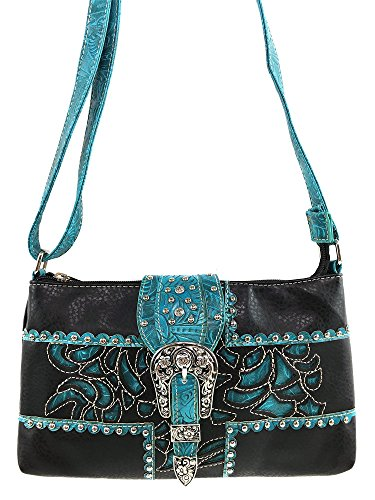 Justin West Floral Embroidery Laser Cut Leather Turquoise Stone Concho Rhinestone Studded Messenger Bag Purse with Long Crossbody Strap (Dark Brown Turquoise)
