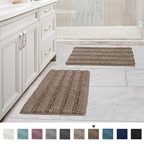 Original Luxury Striped Chenille Bathroom Rug Mat, Extra Soft and Absorbent Rugs, Machine Wash/Dry, Perfect Plush Carpet Mats for Tub, Shower and Bath Room (Pack 2-17