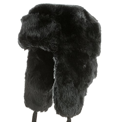 Explorer Ushanka Winter Trapper Faux Fur Pilot Hat with Ear Flaps BLACK 7 3/8