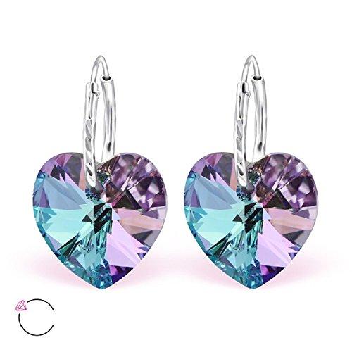 925 Sterling Silver Heart w/ Vitrail Light Swarovski Crystal on Endless Hoop Earrings 28641