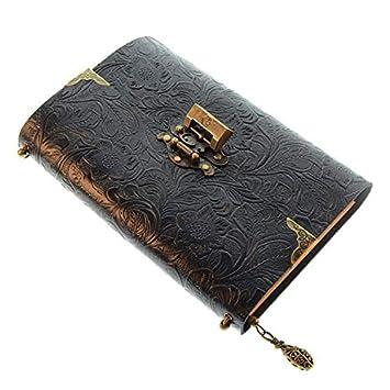 Agenda de piel tallada a mano para cuaderno de notas, color ...