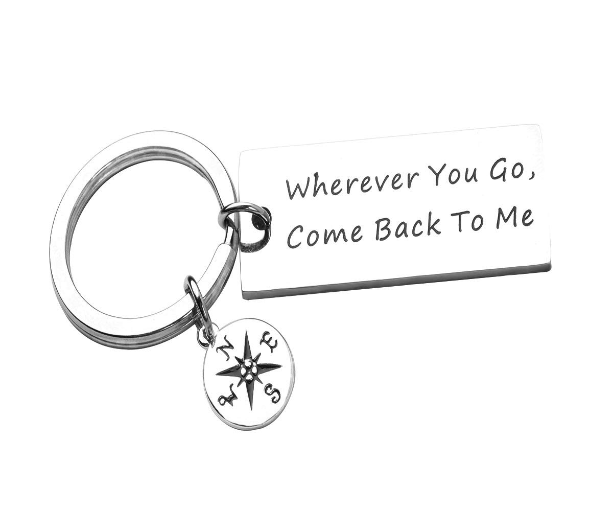REEBOOOR Wherever You Go, Come Back to Me, Hand Stamped Keychain,Bracelet, Graduation Gift, Moving Away Gift, College Gift, Gift for Him, (Key Chain)