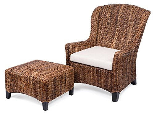 (BIRDROCK HOME Abaca and Seagrass Wing Chair with Ottoman | Espresso Leg Color | Removable Cushion | Arms | Fully Assembled)