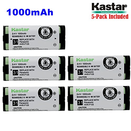 Kastar HHR-P105 Battery (5-Pack), Type 31, NI-MH Rechargeable Cordless Telephone Battery 2.4V 1000mAh, Replacement for Panasonic HHRP105 HHR-P105 HHRP105A HHR-P105A KX242 KX-242 KX2420 KX-2420 KX2421 KX-2421 KX2422 KX-2422 KXTG5779 KX-TG5779 Dantona BATT105 BATT-105 Empire CPH508 CPH-508 GE 86420 Lenmar CB0105 CB-0105 Avaya 3920 Interstate ATEL0014, TEL0014, TEL-0014 3920 Wireless Telephone