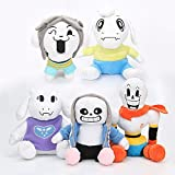 Set of 5Pcs Undertale Plush Toy Stuffed Doll Sans Papyrus Temmie Toriel Asriel