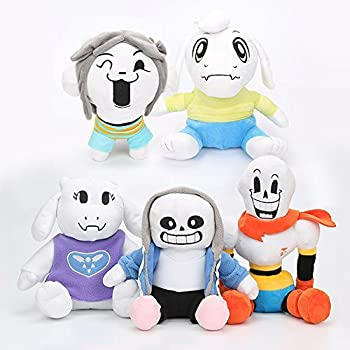 DOCplush Set of 5Pcs Undertale Plush Toy Stuffed Doll Sans Papyrus Temmie Toriel Asriel