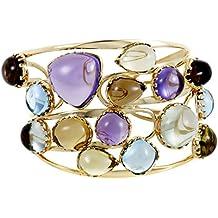 Roberto Coin Womens 18K Yellow Gold Multiple Gemstone Cuff Bracelet