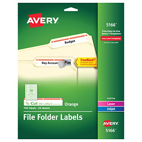 Avery Orange File Folder Labels for Laser and Inkjet Printers with TrueBlock Technology, 2/3 inches x 3-7/16 inches, Pack of 750 (5166) - Avery Permanent Filing Labels