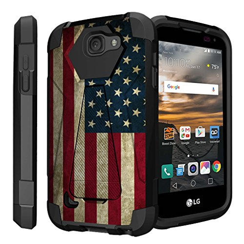 Virgin Mobile Phone Cases - Untouchble Case for LG K3, LG LS450 (Virgin Mobile, Boost Mobile)[Traveler Series]- Dual Layer Hard Plastic Inner Silicone Stand Case - Vintage American Flag