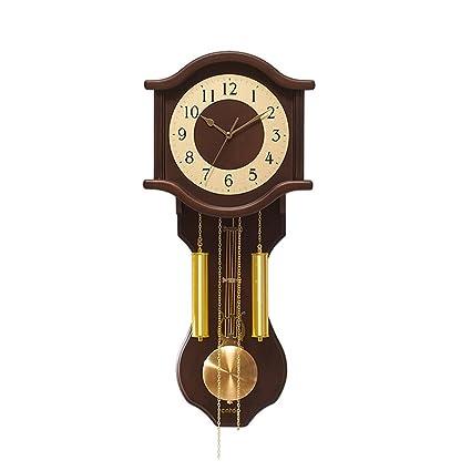 HUAN Reloj de pared vintage pintado a mano de caoba y oro Reloj de pared de