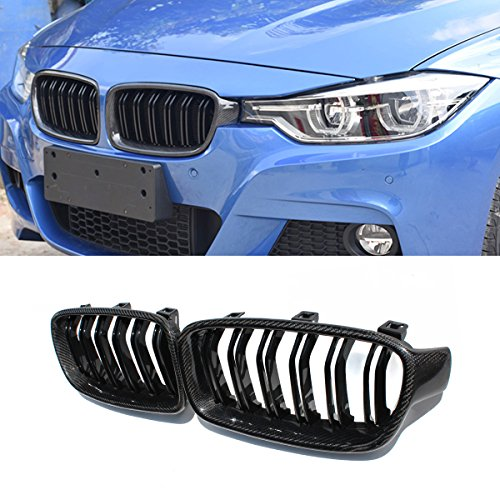 Gloss Grill Grille (F30 Grille,Carbon Fiber Front Replacement Kidney Grill for 3 Series F30 F31 Gloss Black)