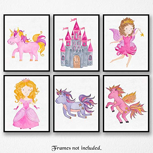 (Princess Unicorn Fairy Castle Art Poster Prints - Set of 6 (SIX) Photos - 8x10 Unframed - Great Wall Art Decor Gifts Under $20 for Bathroom, Nursery, Girl Room, Playroom, Preschool, Unicorn Lovers)