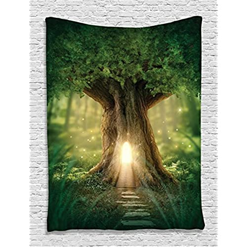 Ambesonne Mystic Fairy Tree Of Life Enchanted Forest Mystical Lights  Digital Printed Tapestry Wall Hanging Wall Tapestry Living Room Bedroom  Dorm Decor, ...