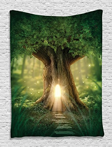 Fairy Tapestry (Mystic Fairy Tree of Life Enchanted Forest Mystical Lights Digital Printed Tapestry Wall Hanging Wall Tapestry Living Room Bedroom Dorm Decor, Green Yellow Brown)