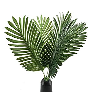 6pcs Artificial Palm Plants Leaves Imitation Leaf Artificial Plants Green Greenery Plants Faux Fake Tropical Large Palm Tree Leaves for Home Kitchen Party Flowers Arrangement 32