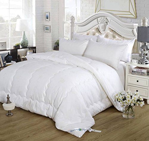 HealthyLine Lightweight Comforter Silk & Tourmaline Fiber Filling 'Energy Duvet' Bio-Magnetic Therapy. 300 Thread Count 100% Cotton, Hypoallergenic, Far Infrared, Negative Ions (King)