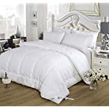 """All-Season White Comforter Cashmere & Tourmaline Fiber Filling """"Energy Duvet"""" Bio-Magnetic Therapy. 300 Thread Count 100% Cotton, Hypoallergenic, Far Infrared, Negative Ions (No Magnetic Full)"""